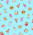 Fast food seamless pattern on blue background vector image vector image