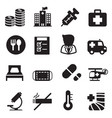 silhouette hospital icons set vector image