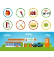 Gas station and with a shop vector image