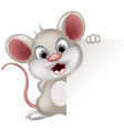 funny mouse cartoon with blank sign vector image vector image