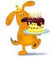 Cartoon dog with cake vector image
