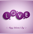 Valentines card with purple circles background vector image vector image