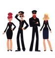 Airplane crew of pilots and stewardesses cartoon vector image