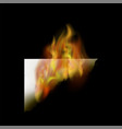 burning white paper with fire flame vector image