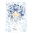Calendar 2016 january month Season girls design vector image