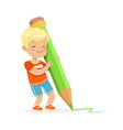 cute little boy writing with a giant green pencil vector image