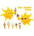 Funny cartoon sun with ice cream vector image
