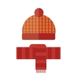 Hat and scarf winter cartoon flat warm accessory vector image