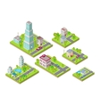 Isometric City Buildings Set Isometry vector image