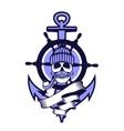 Marine emblem skull vector image