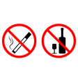 no smoke no alcohol vector image