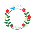 red flower circle with blue bird singing and music vector image