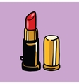 Red lipstick cosmetics and beauty vector image