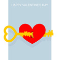 Valentines day Key to heart Large complex key vector image