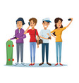 white background with set women and men social vector image