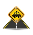 taxi yellow road street sign vector image