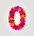 floral numbers colorful flowers number 0 vector image