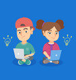 boy and girl working on laptops with idea bulbs vector image