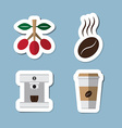 coffee and tea flat icon set vector image