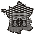 Contour of France with Arc de Triomphe vector image