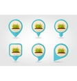 Grass flat mapping pin icon with long shadow vector image
