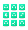 headphones wireless earbuds headsets icons vector image