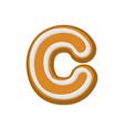 letter c gingerbread peppermint honey-cake font vector image