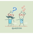 man with a question mark running away from a girl vector image