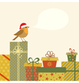 Gifts and Robin vector image