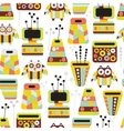 Beautiful pattern with owls and vases vector image vector image