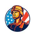 American Serviceman Soldier Flag Retro vector image