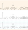 washington hand drawn skyline vector image vector image