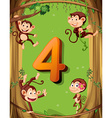 Number four with 4 monkeys on the tree vector image