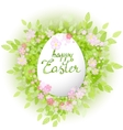 card Happy Easter Floral frame with leaves vector image
