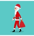 Cartoon Santa Claus rides with empty bag gifts vector image