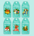 colorful holiday gift tags and outline vector image