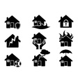 Property insurance icons set vector image