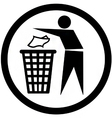 Put rubbish in the bin sign vector image