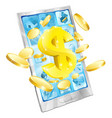 dollar money phone concept vector image