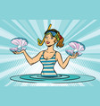 girl sea diver for pearls vector image