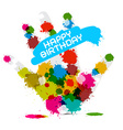 Happy Birthday on White Background with Hand vector image