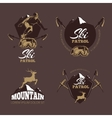 Mountain climbing color labels Ski Resort vector image