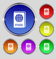 Passport icon sign Round symbol on bright vector image