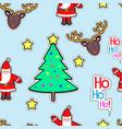 santa clause deer tree star seamless pattern vector image