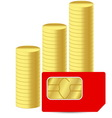Sim card with coins vector image vector image