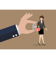 Hand turns on business woman with wind up key in vector image