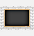 blackboard on white brick background vector image