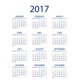 Calendar for 2017 on white background EPS10 vector image