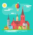 Colorful cityscape scene in flat design vector image