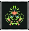 Floral ornament Green swirls and flowers frame vector image
